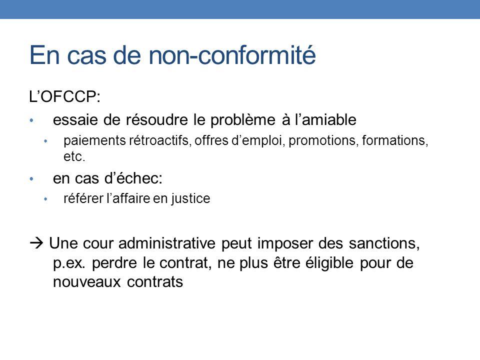 En cas de non-conformité LOFCCP: essaie de résoudre le problème à lamiable paiements rétroactifs, offres demploi, promotions, formations, etc. en cas