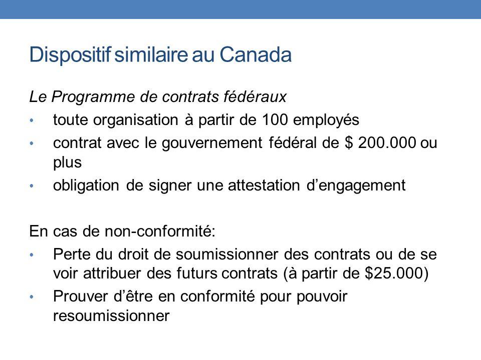 Dispositif similaire au Canada Le Programme de contrats fédéraux toute organisation à partir de 100 employés contrat avec le gouvernement fédéral de $