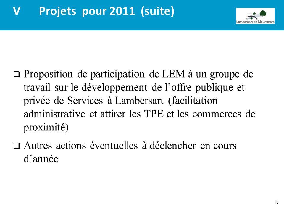 13 V Projets pour 2011 (suite) Proposition de participation de LEM à un groupe de travail sur le développement de loffre publique et privée de Service