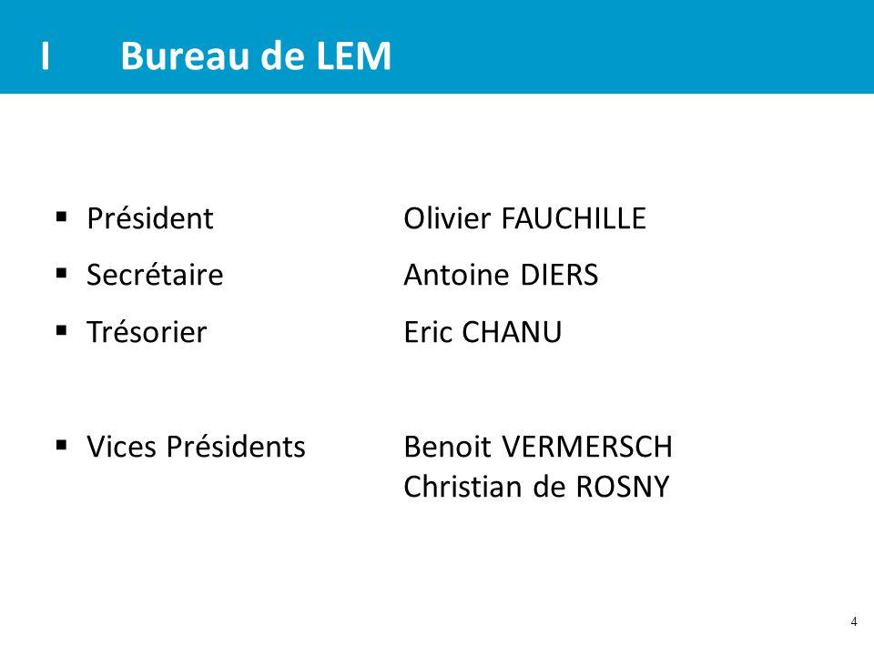 4 IBureau de LEM Président Olivier FAUCHILLE Secrétaire Antoine DIERS TrésorierEric CHANU Vices Présidents Benoit VERMERSCH Christian de ROSNY