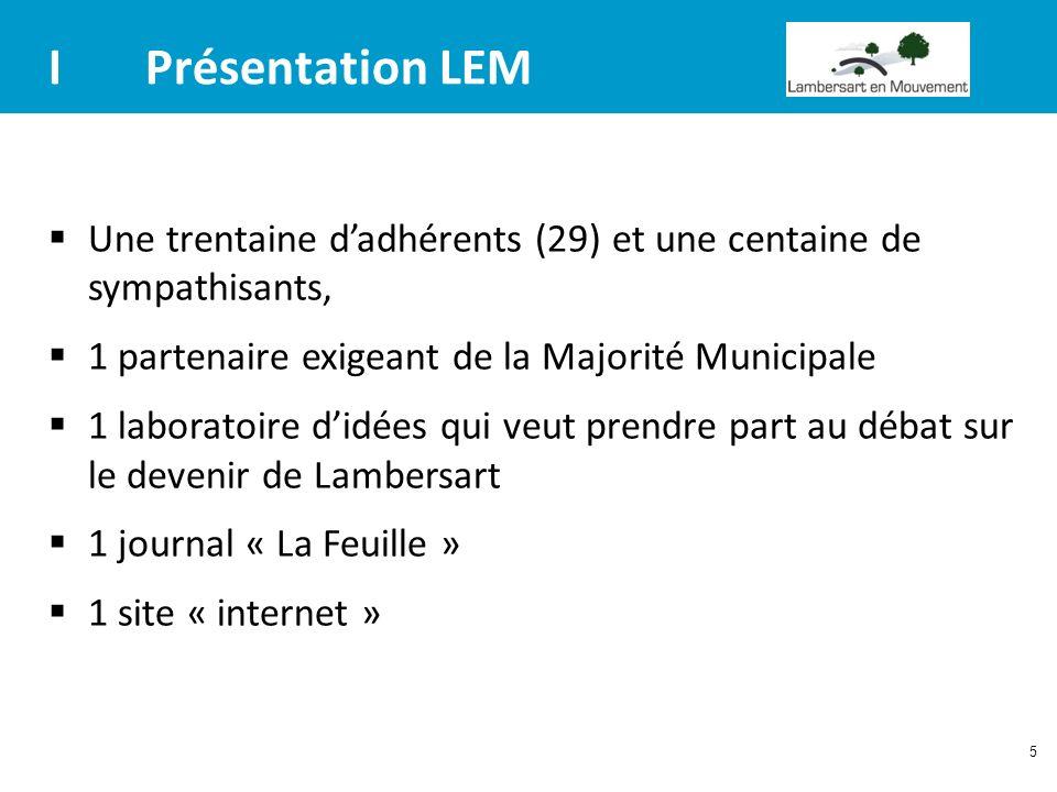 5 IPrésentation LEM Une trentaine dadhérents (29) et une centaine de sympathisants, 1 partenaire exigeant de la Majorité Municipale 1 laboratoire didé