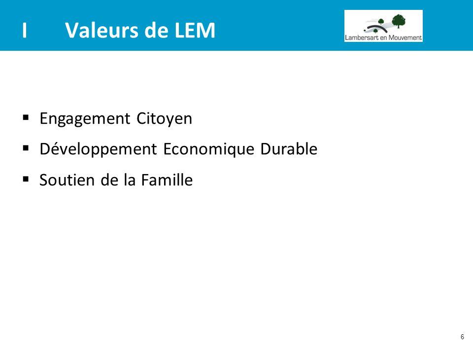 6 IValeurs de LEM Engagement Citoyen Développement Economique Durable Soutien de la Famille