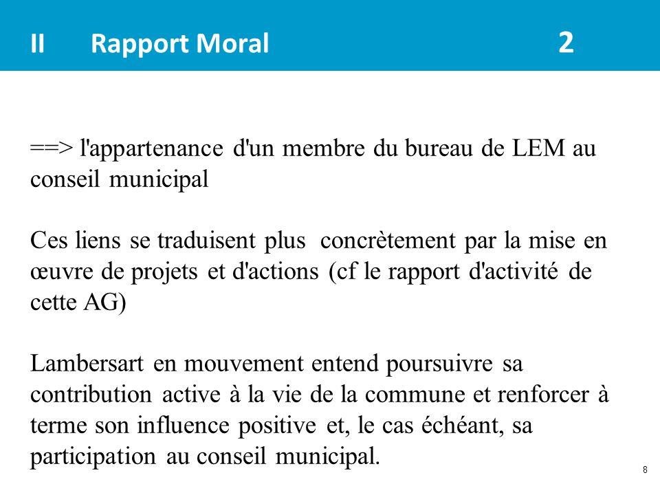 8 IIRapport Moral 2 ==> l'appartenance d'un membre du bureau de LEM au conseil municipal Ces liens se traduisent plus concrètement par la mise en œuvr