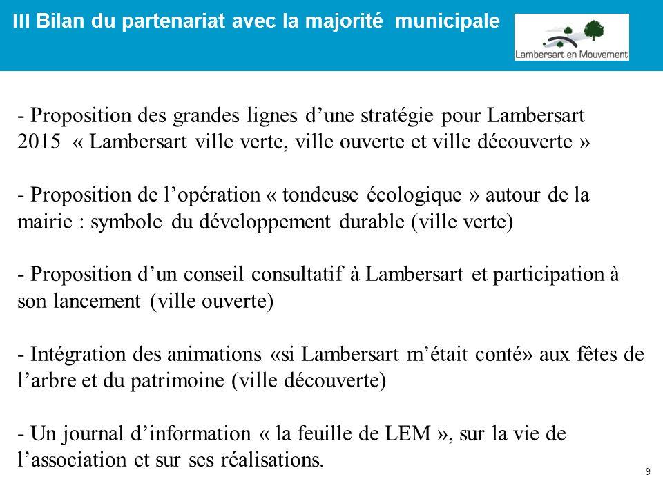 9 III Bilan du partenariat avec la majorité municipale - Proposition des grandes lignes dune stratégie pour Lambersart 2015 « Lambersart ville verte,