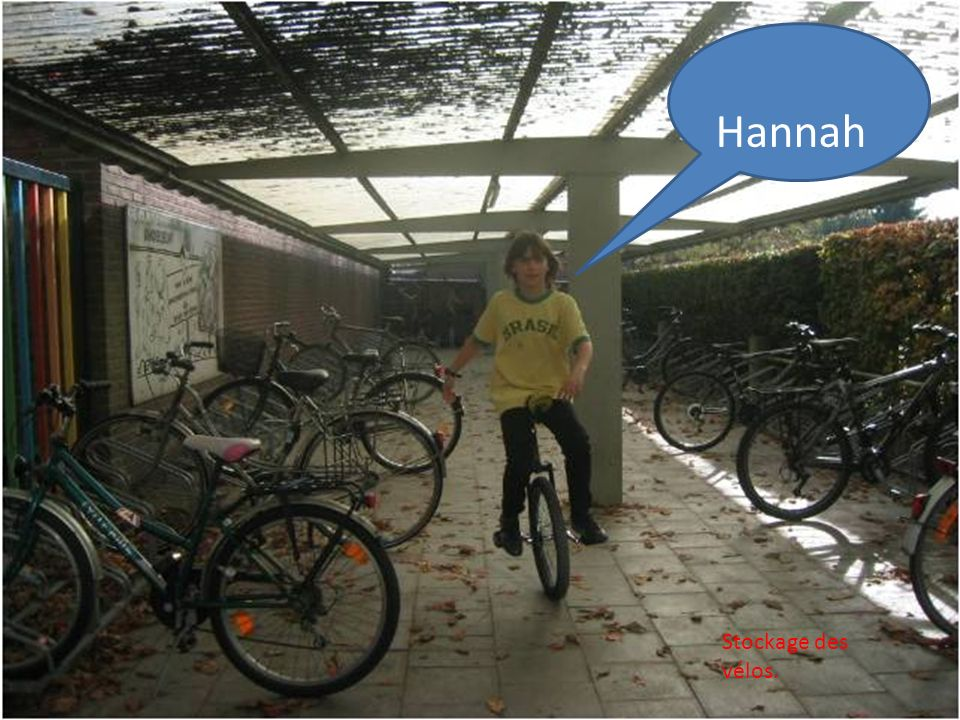 Hannah Stockage des vélos.
