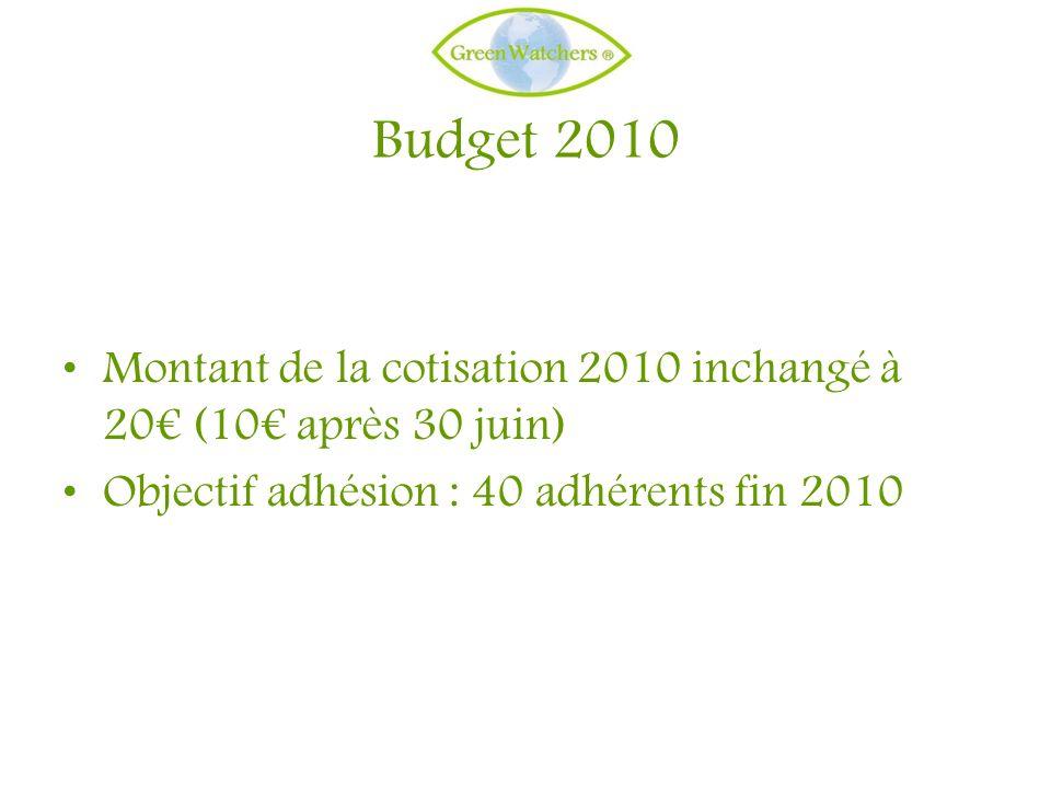 Budget 2010 Montant de la cotisation 2010 inchangé à 20 (10 après 30 juin) Objectif adhésion : 40 adhérents fin 2010