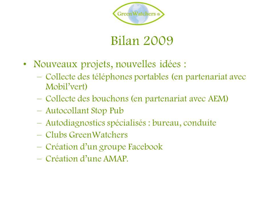 Bilan 2009 Nouveaux projets, nouvelles idées : –Collecte des téléphones portables (en partenariat avec Mobilvert) –Collecte des bouchons (en partenari