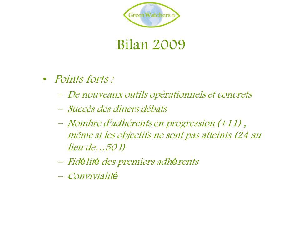 Bilan 2009 Points forts : –De nouveaux outils opérationnels et concrets –Succès des dîners débats –Nombre dadhérents en progression (+11), même si les