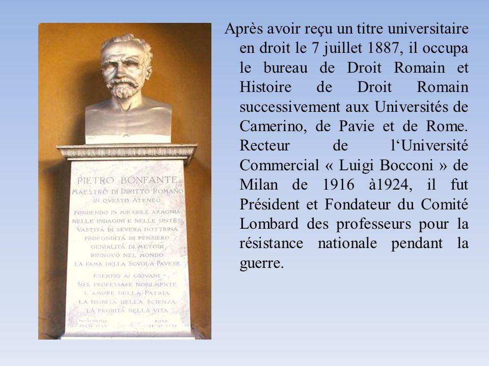 Après avoir reçu un titre universitaire en droit le 7 juillet 1887, il occupa le bureau de Droit Romain et Histoire de Droit Romain successivement aux Universités de Camerino, de Pavie et de Rome.
