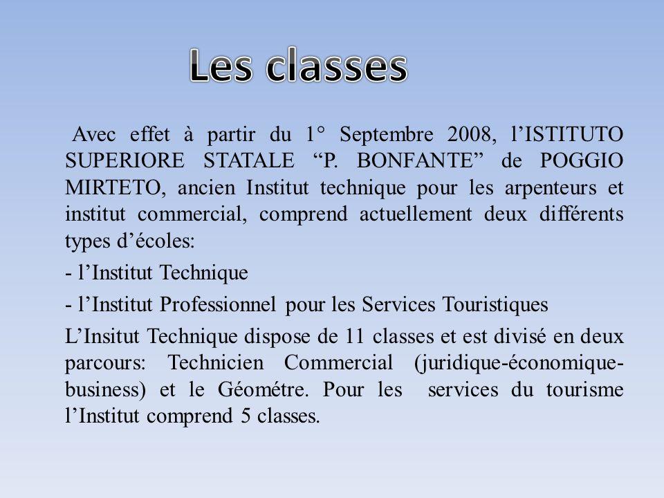 Avec effet à partir du 1° Septembre 2008, lISTITUTO SUPERIORE STATALE P. BONFANTE de POGGIO MIRTETO, ancien Institut technique pour les arpenteurs et