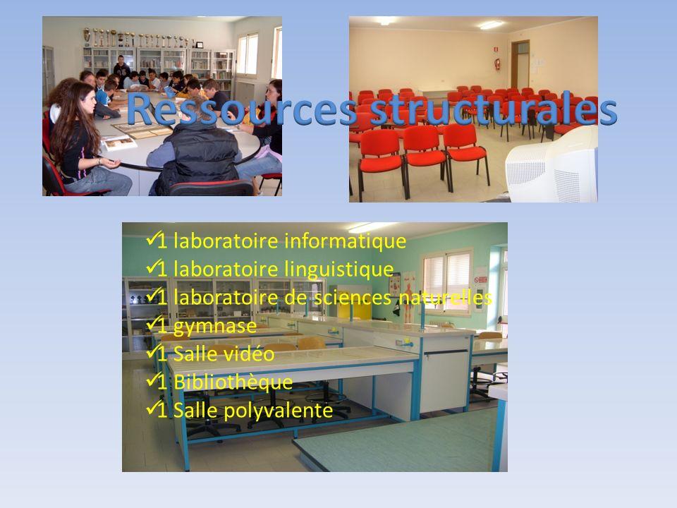 1 laboratoire informatique 1 laboratoire linguistique 1 laboratoire de sciences naturelles 1 gymnase 1 Salle vidéo 1 Bibliothèque 1 Salle polyvalente