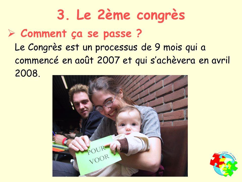 Le Congrès est un processus de 9 mois qui a commencé en août 2007 et qui sachèvera en avril 2008.