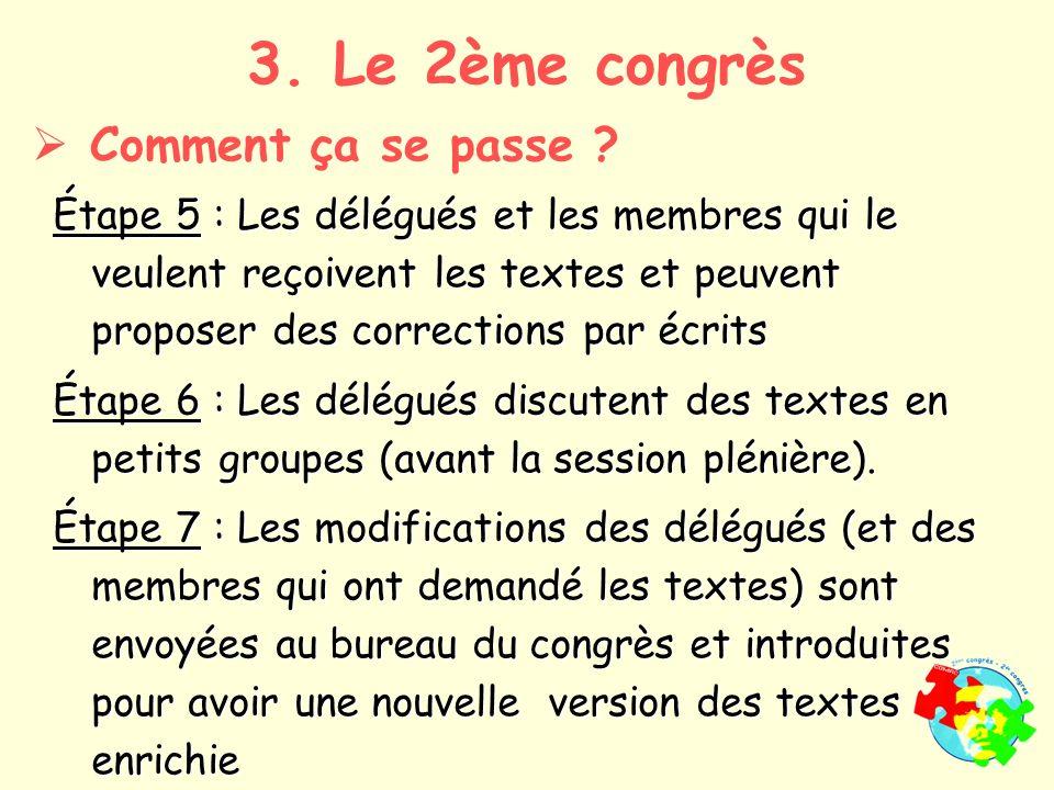 Étape 5 : Les délégués et les membres qui le veulent reçoivent les textes et peuvent proposer des corrections par écrits Étape 6 : Les délégués discutent des textes en petits groupes (avant la session plénière).