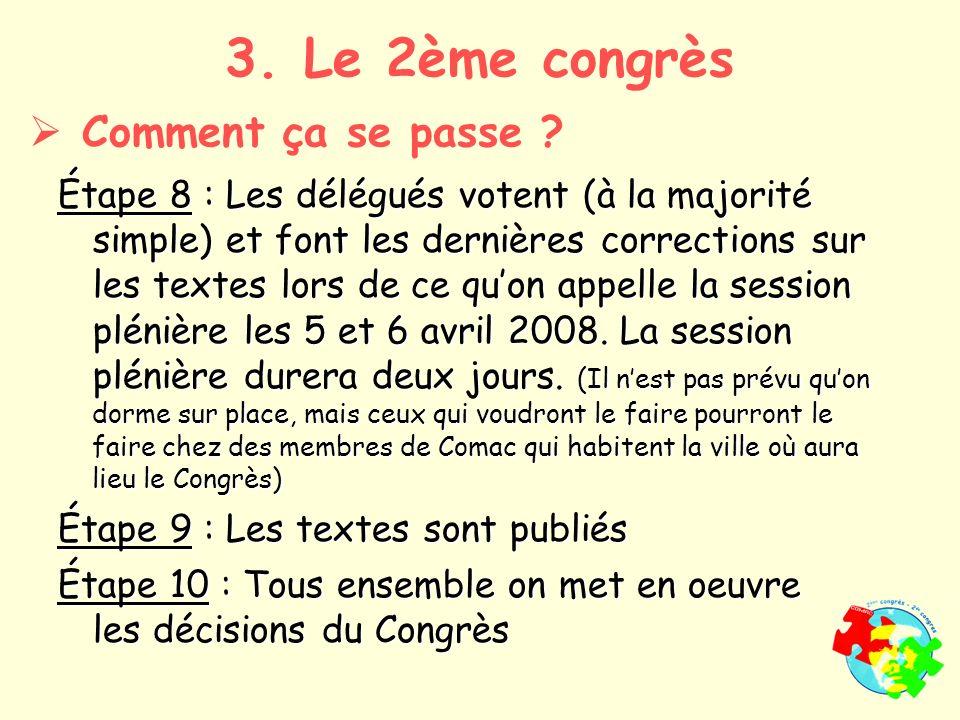 Étape 8 : Les délégués votent (à la majorité simple) et font les dernières corrections sur les textes lors de ce quon appelle la session plénière les 5 et 6 avril 2008.