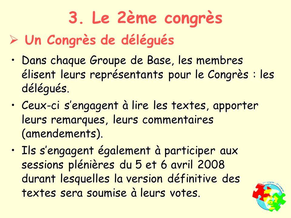 Dans chaque Groupe de Base, les membres élisent leurs représentants pour le Congrès : les délégués.Dans chaque Groupe de Base, les membres élisent leurs représentants pour le Congrès : les délégués.