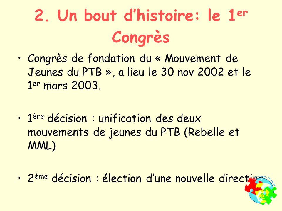 2. Un bout dhistoire: le 1 er Congrès Congrès de fondation du « Mouvement de Jeunes du PTB », a lieu le 30 nov 2002 et le 1 er mars 2003.Congrès de fo