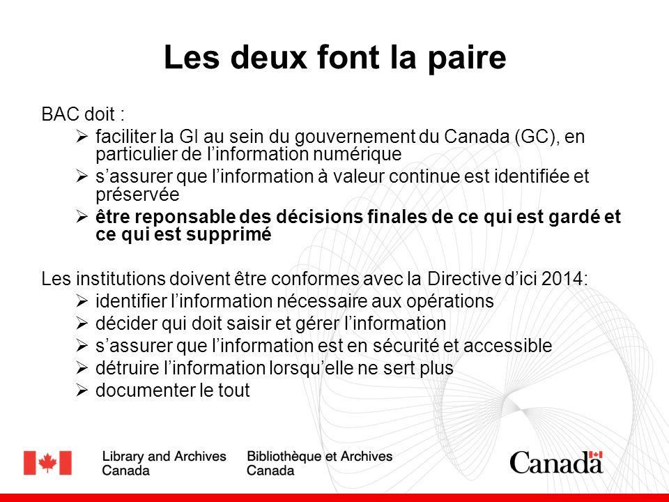 Les deux font la paire BAC doit : faciliter la GI au sein du gouvernement du Canada (GC), en particulier de linformation numérique sassurer que linformation à valeur continue est identifiée et préservée être reponsable des décisions finales de ce qui est gardé et ce qui est supprimé Les institutions doivent être conformes avec la Directive dici 2014: identifier linformation nécessaire aux opérations décider qui doit saisir et gérer linformation sassurer que linformation est en sécurité et accessible détruire linformation lorsquelle ne sert plus documenter le tout