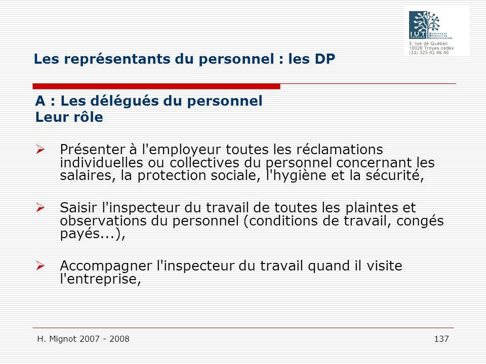 H. Mignot 2007 - 2008 137 A : Les délégués du personnel Leur rôle Présenter à l'employeur toutes les réclamations individuelles ou collectives du pers