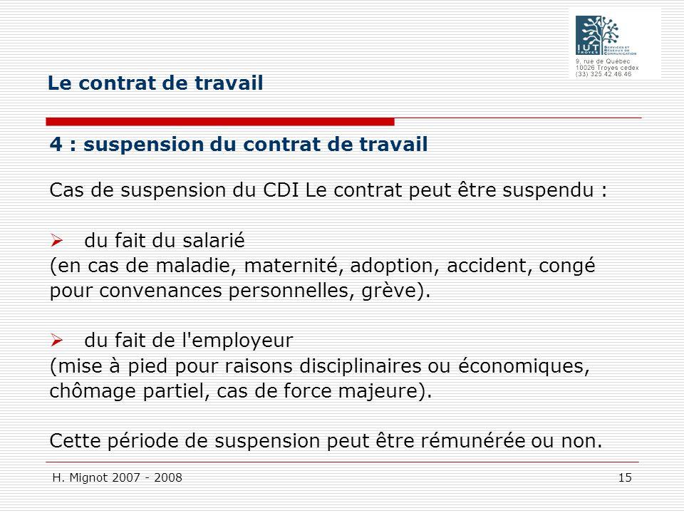 H. Mignot 2007 - 2008 15 4 : suspension du contrat de travail Cas de suspension du CDI Le contrat peut être suspendu : du fait du salarié (en cas de m
