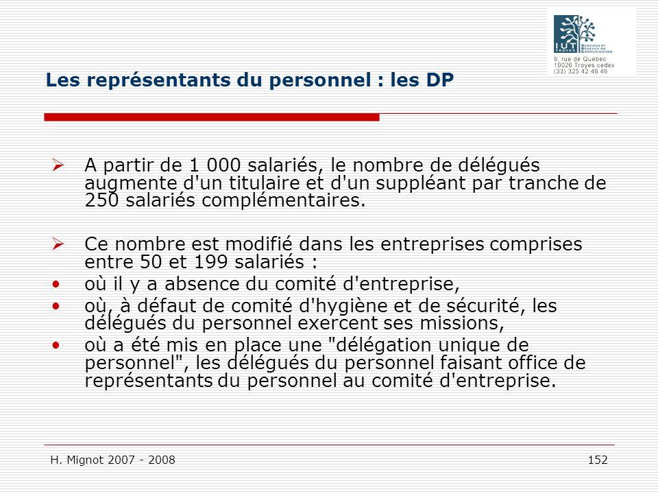 H. Mignot 2007 - 2008 152 A partir de 1 000 salariés, le nombre de délégués augmente d'un titulaire et d'un suppléant par tranche de 250 salariés comp