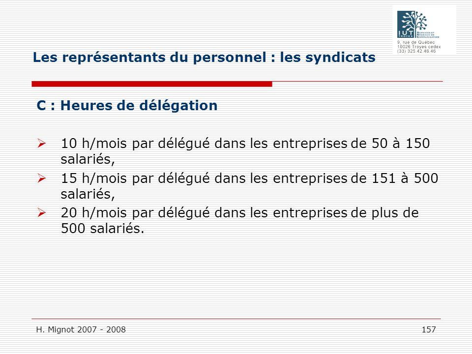 H. Mignot 2007 - 2008 157 C : Heures de délégation 10 h/mois par délégué dans les entreprises de 50 à 150 salariés, 15 h/mois par délégué dans les ent