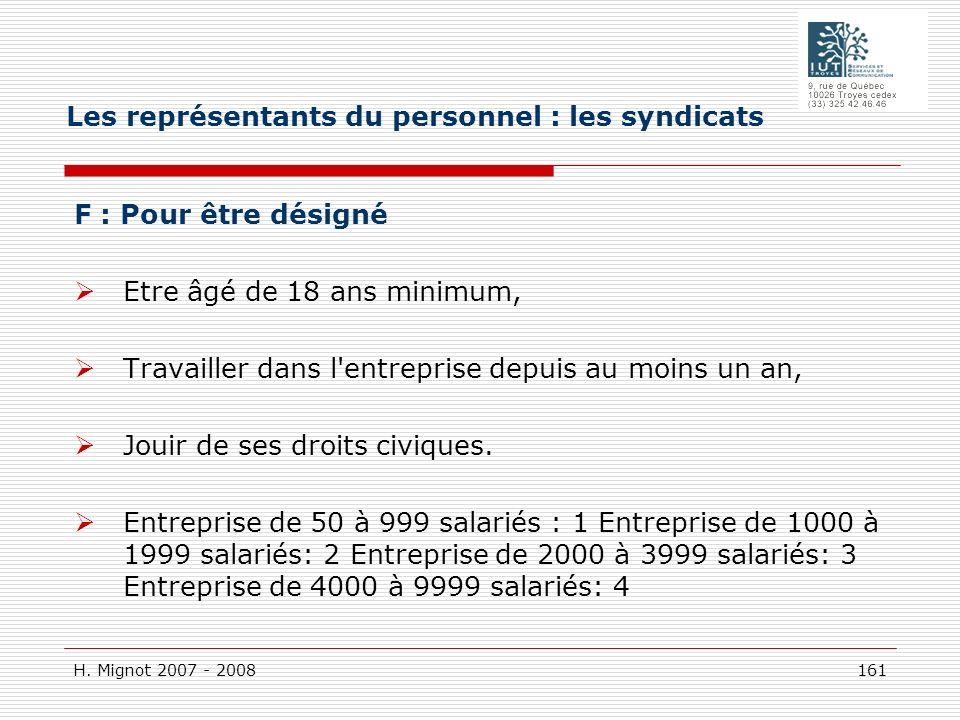 H. Mignot 2007 - 2008 161 F : Pour être désigné Etre âgé de 18 ans minimum, Travailler dans l'entreprise depuis au moins un an, Jouir de ses droits ci
