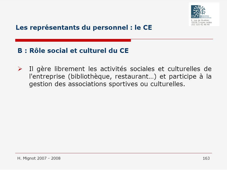 H. Mignot 2007 - 2008 163 B : Rôle social et culturel du CE Il gère librement les activités sociales et culturelles de l'entreprise (bibliothèque, res