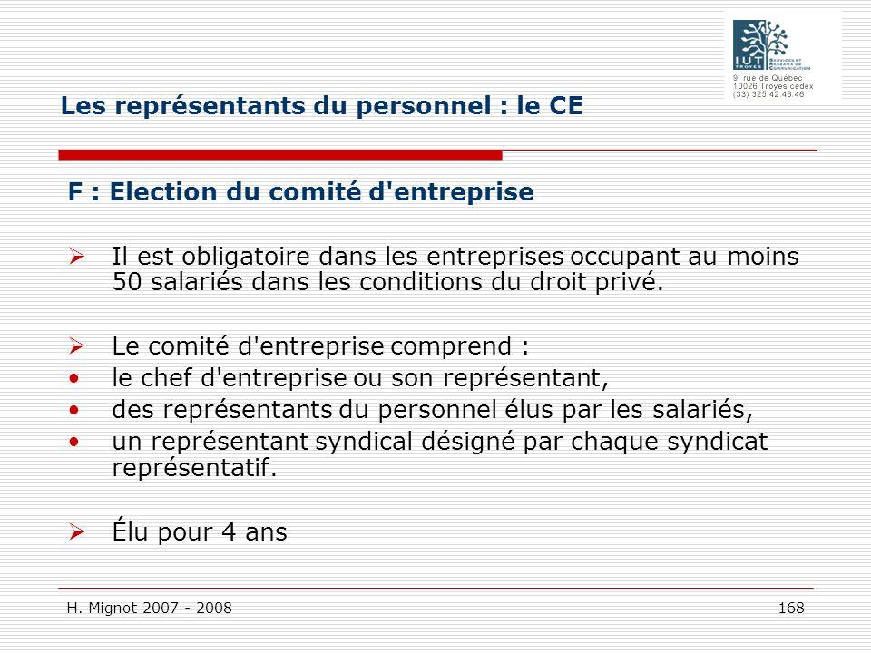 H. Mignot 2007 - 2008 168 F : Election du comité d'entreprise Il est obligatoire dans les entreprises occupant au moins 50 salariés dans les condition