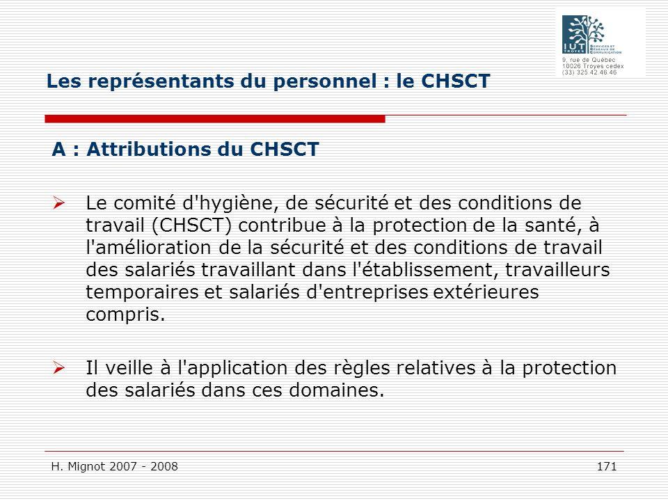 H. Mignot 2007 - 2008 171 A : Attributions du CHSCT Le comité d'hygiène, de sécurité et des conditions de travail (CHSCT) contribue à la protection de