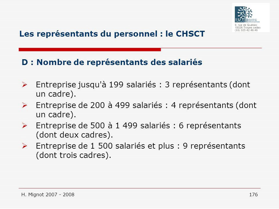 H. Mignot 2007 - 2008 176 D : Nombre de représentants des salariés Entreprise jusqu'à 199 salariés : 3 représentants (dont un cadre). Entreprise de 20