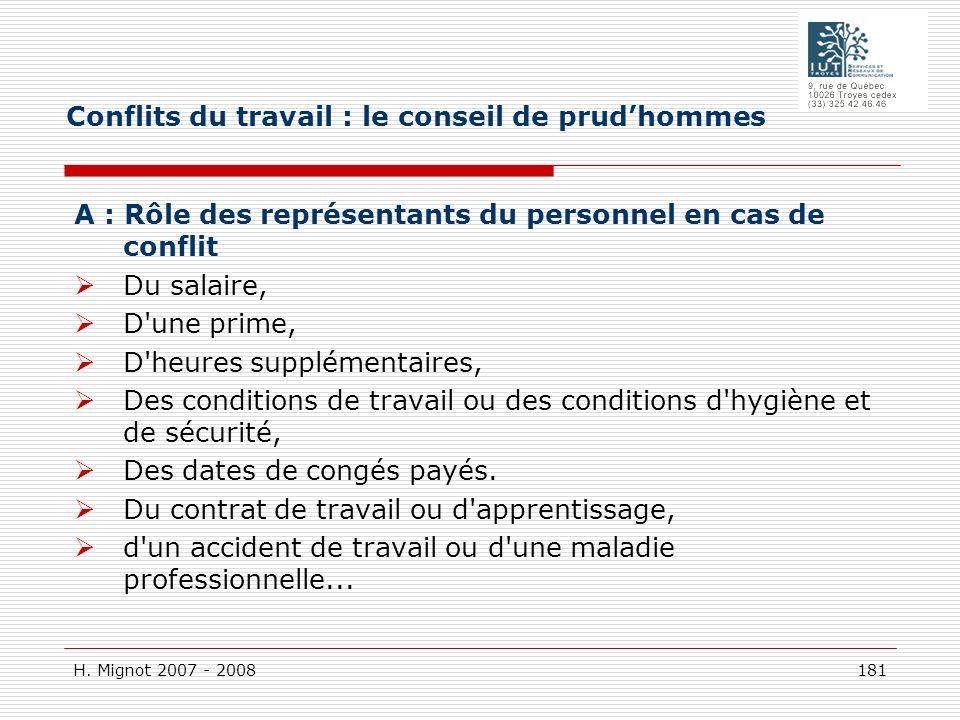 H. Mignot 2007 - 2008 181 A : Rôle des représentants du personnel en cas de conflit Du salaire, D'une prime, D'heures supplémentaires, Des conditions