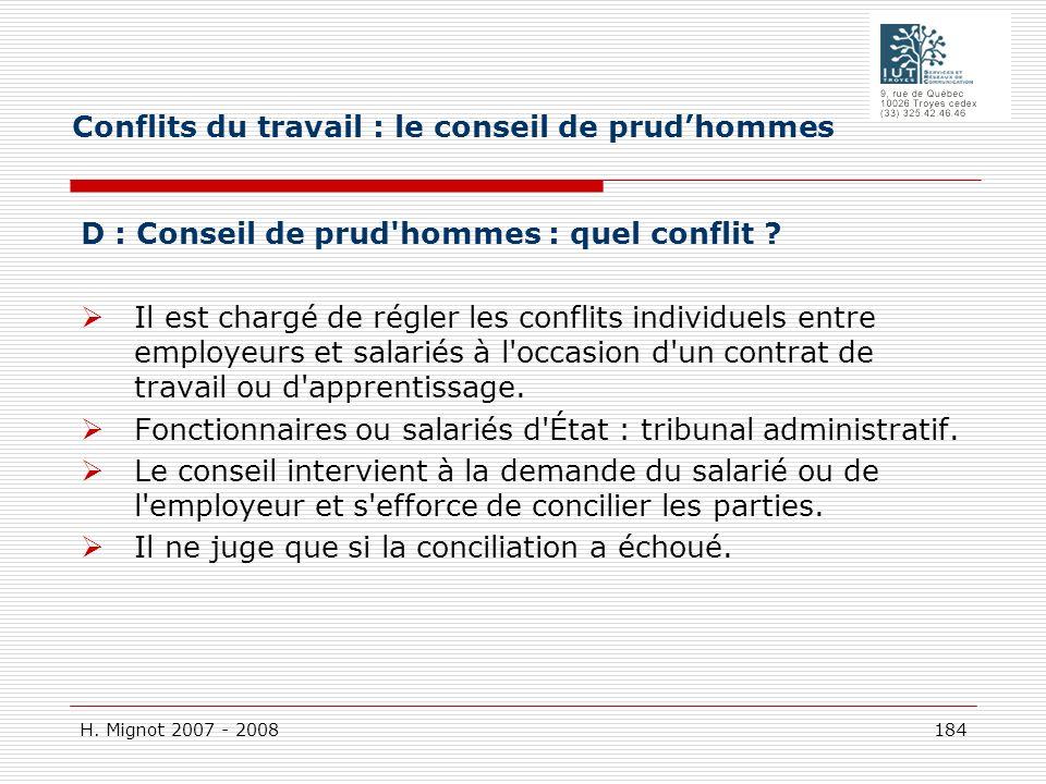 H. Mignot 2007 - 2008 184 D : Conseil de prud'hommes : quel conflit ? Il est chargé de régler les conflits individuels entre employeurs et salariés à