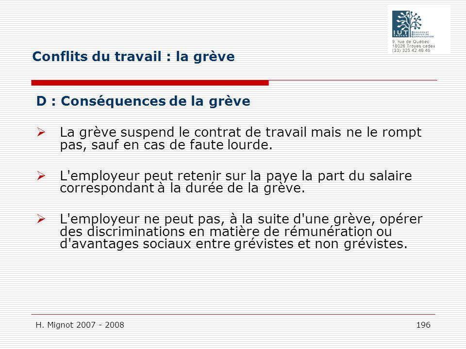 H. Mignot 2007 - 2008 196 D : Conséquences de la grève La grève suspend le contrat de travail mais ne le rompt pas, sauf en cas de faute lourde. L'emp