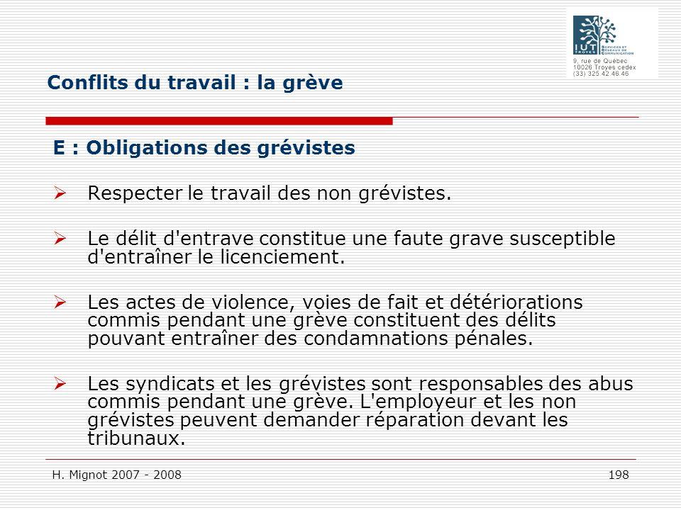 H. Mignot 2007 - 2008 198 E : Obligations des grévistes Respecter le travail des non grévistes. Le délit d'entrave constitue une faute grave susceptib
