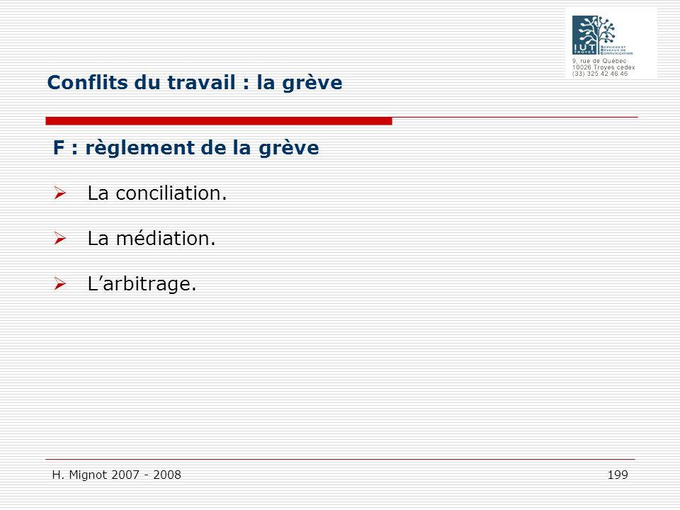H. Mignot 2007 - 2008 199 F : règlement de la grève La conciliation. La médiation. Larbitrage. Conflits du travail : la grève