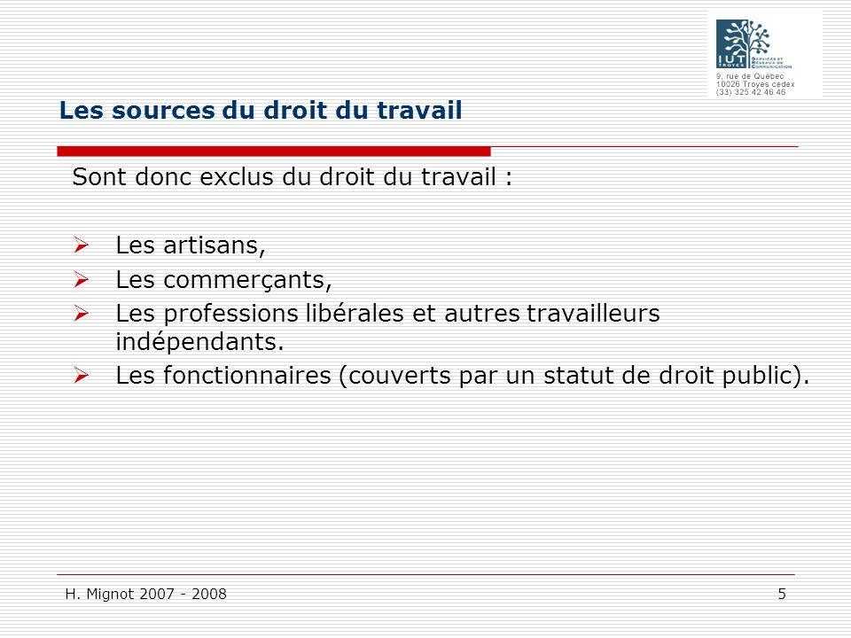 H. Mignot 2007 - 2008 5 Sont donc exclus du droit du travail : Les artisans, Les commerçants, Les professions libérales et autres travailleurs indépen