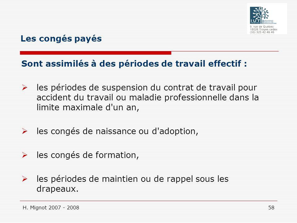 H. Mignot 2007 - 2008 58 Sont assimilés à des périodes de travail effectif : les périodes de suspension du contrat de travail pour accident du travail
