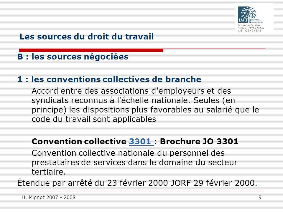 H. Mignot 2007 - 2008 9 B : les sources négociées 1 : les conventions collectives de branche Accord entre des associations d'employeurs et des syndica