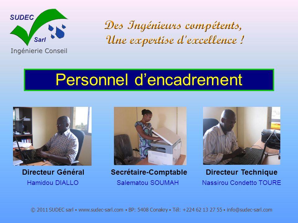 Directeur Général © 2011 SUDEC sarl www.sudec-sarl.com BP: 5408 Conakry Tél: +224 62 13 27 55 info@sudec-sarl.com Personnel dencadrement Hamidou DIALL