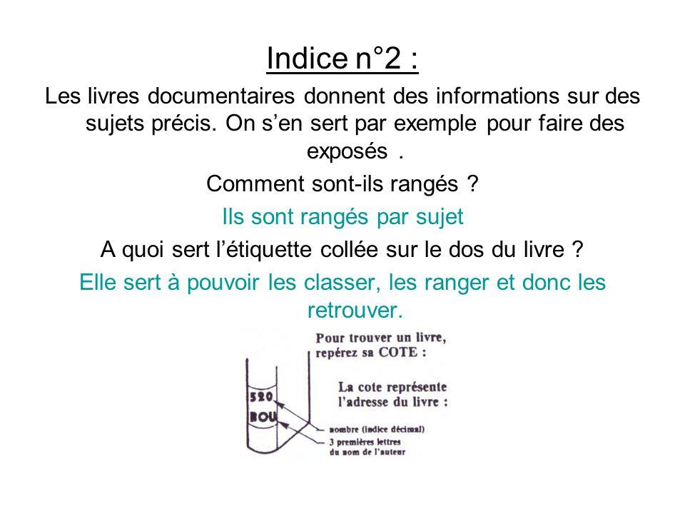Indice n°2 : Les livres documentaires donnent des informations sur des sujets précis. On sen sert par exemple pour faire des exposés. Comment sont-ils