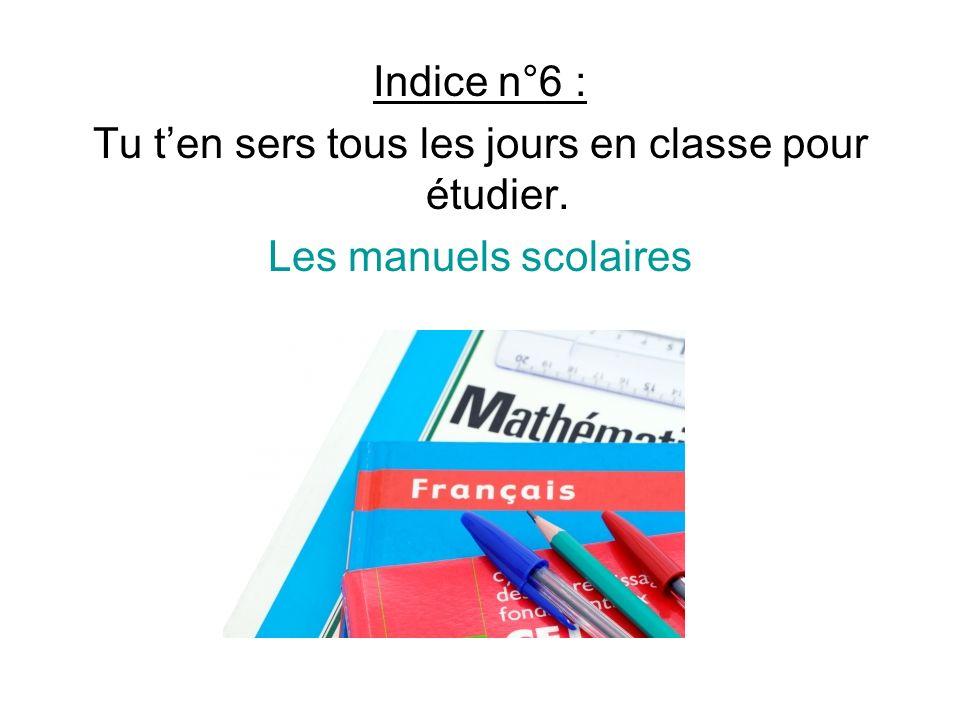 Indice n°6 : Tu ten sers tous les jours en classe pour étudier. Les manuels scolaires