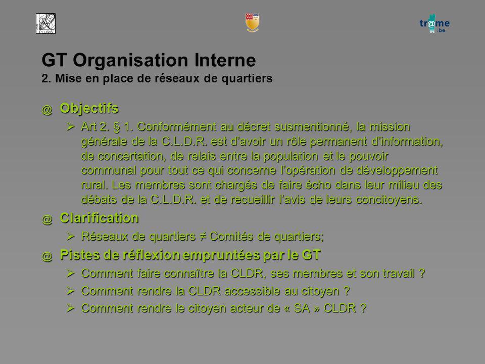GT Organisation Interne 2. Mise en place de réseaux de quartiers @ Objectifs Art 2.
