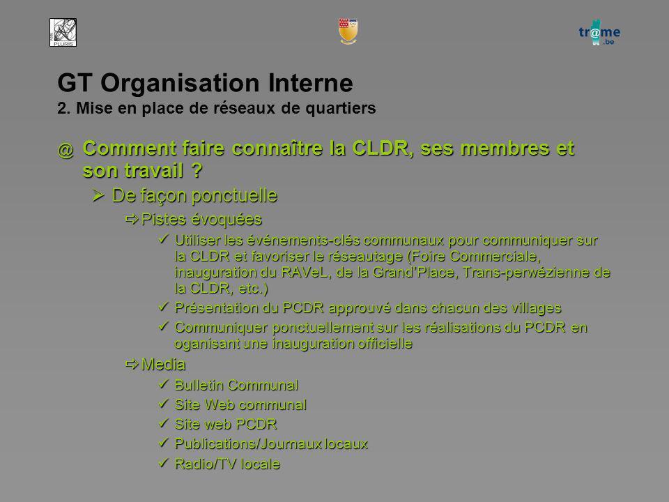 GT Organisation Interne 2. Mise en place de réseaux de quartiers @ Comment faire connaître la CLDR, ses membres et son travail ? De façon ponctuelle D