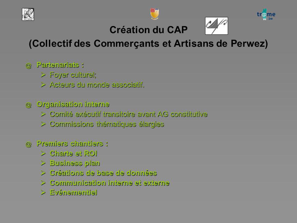 Création du CAP (Collectif des Commerçants et Artisans de Perwez) @ Partenariats : Foyer culturel; Foyer culturel; Acteurs du monde associatif.