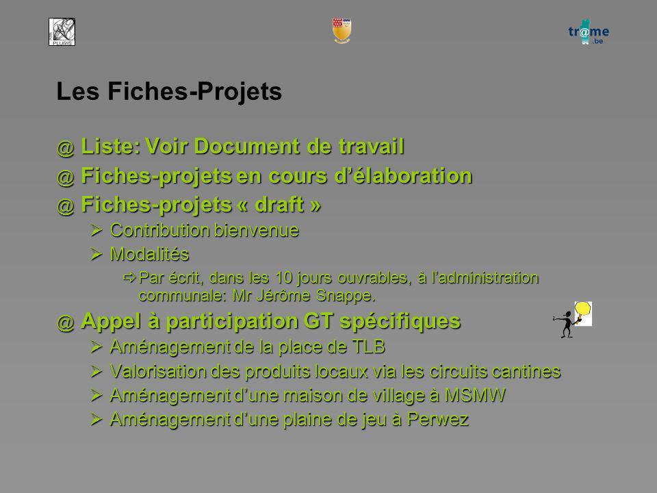 Les Fiches-Projets @ Liste: Voir Document de travail @ Fiches-projets en cours délaboration @ Fiches-projets « draft » Contribution bienvenue Contribution bienvenue Modalités Modalités Par écrit, dans les 10 jours ouvrables, à ladministration communale: Mr Jérôme Snappe.