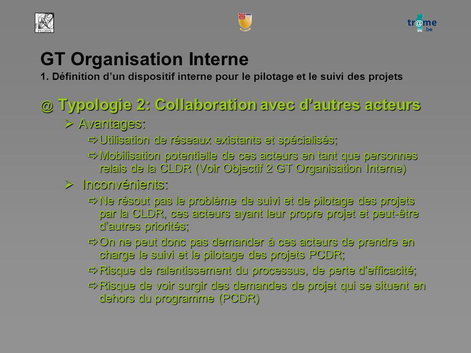 GT Organisation Interne 1. Définition dun dispositif interne pour le pilotage et le suivi des projets @ Typologie 2: Collaboration avec dautres acteur