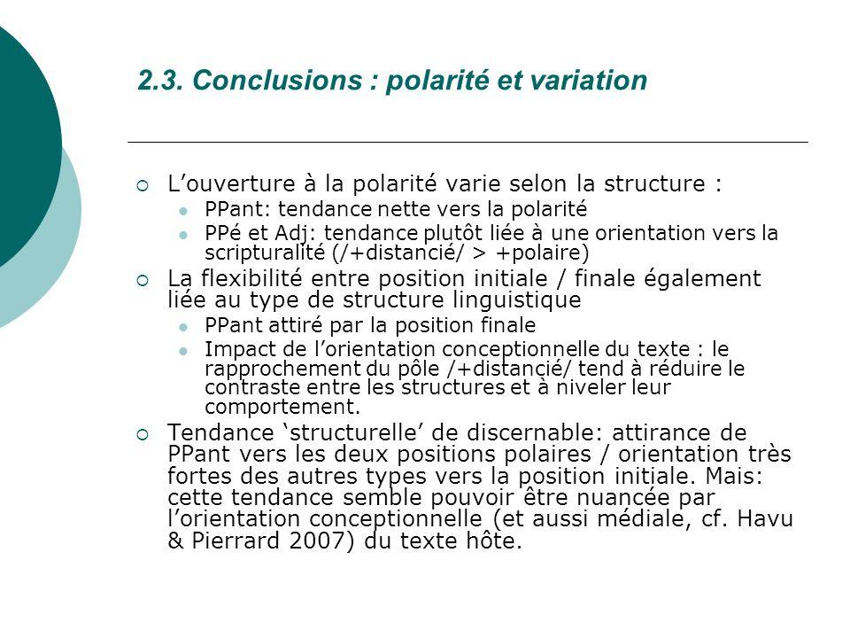 2.3. Conclusions : polarité et variation Louverture à la polarité varie selon la structure : PPant: tendance nette vers la polarité PPé et Adj: tendan