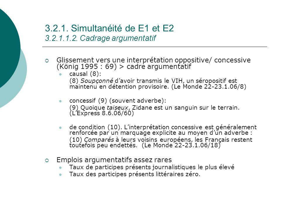 3.2.1. Simultanéité de E1 et E2 3.2.1.1.2. Cadrage argumentatif Glissement vers une interprétation oppositive/ concessive (König 1995 : 69) > cadre ar