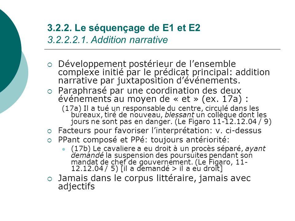 3.2.2. Le séquençage de E1 et E2 3.2.2.2.1. Addition narrative Développement postérieur de lensemble complexe initié par le prédicat principal: additi
