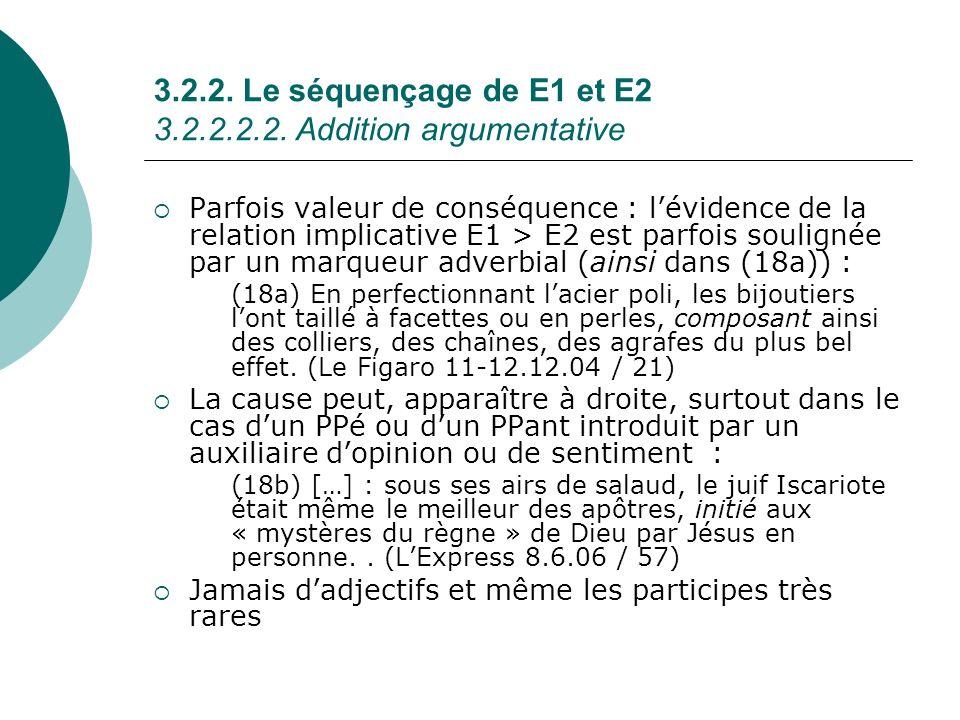 3.2.2. Le séquençage de E1 et E2 3.2.2.2.2. Addition argumentative Parfois valeur de conséquence : lévidence de la relation implicative E1 > E2 est pa